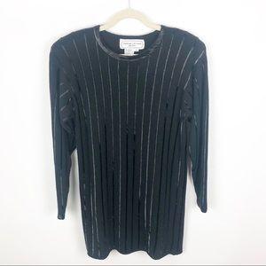 Adrienne Vittadini Black Sequin Wool Mini Dress